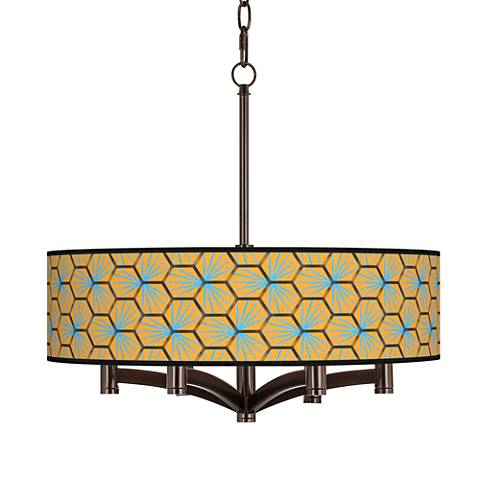 Hexagon Starburst Ava 6-Light Bronze Pendant Chandelier