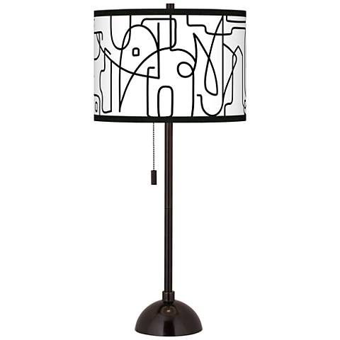 Scribble World Giclee Glow Tiger Bronze Club Table Lamp