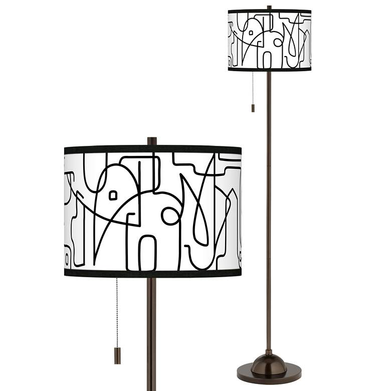 Scribble World Giclee Glow Bronze Club Floor Lamp