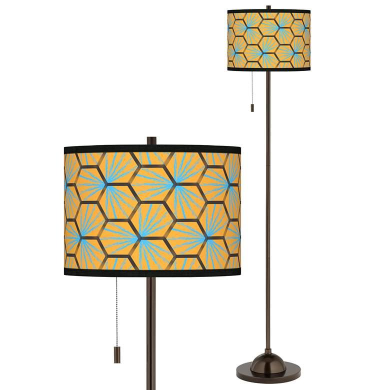 Hexagon Starburst Giclee Glow Bronze Club Floor Lamp