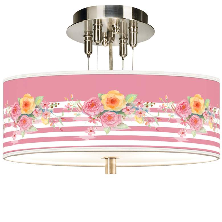 """Country Rose Giclee 14"""" Wide Ceiling Light"""