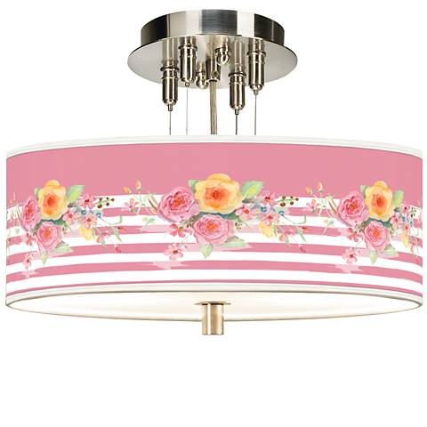 "Country Rose Giclee 14"" Wide Ceiling Light"