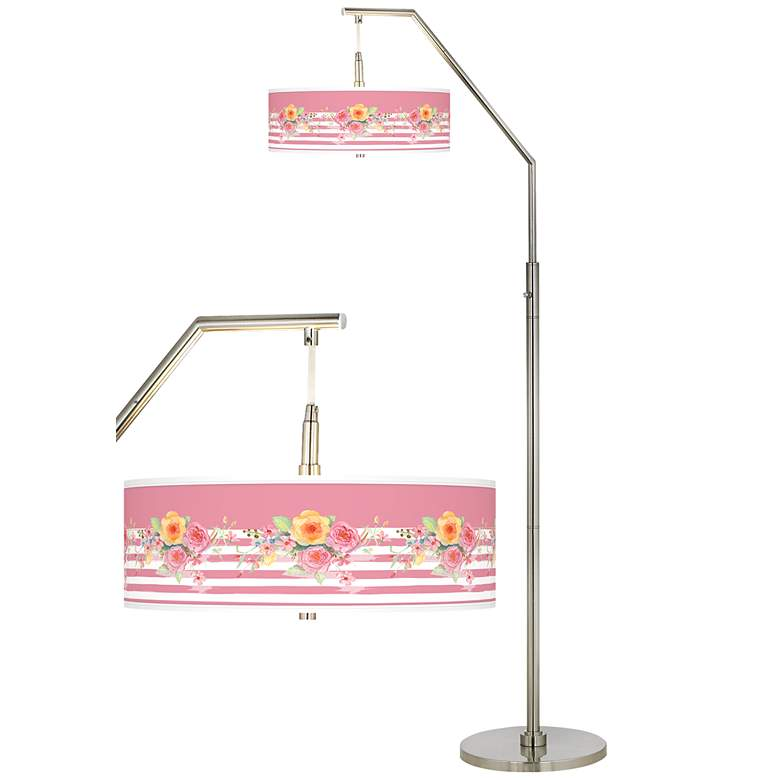 Country Rose Giclee Shade Arc Floor Lamp