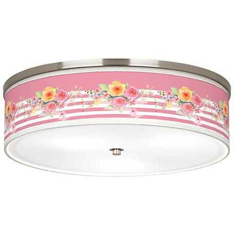 """Country Rose Giclee Nickel 20 1/4"""" Wide Ceiling Light"""