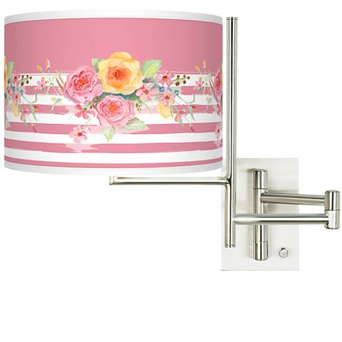 Tempo Country Rose Plug-in Swing Arm Wall Lamp