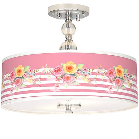 "Country Rose Giclee 16"" Wide Semi-Flush Ceiling Light"