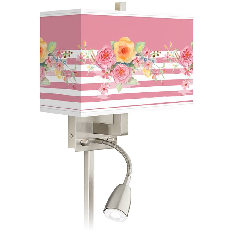 Country Rose Giclee Glow LED Reading Light Plug-In Sconce