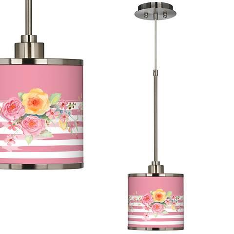 Country Rose Giclee Glow Mini Pendant Light