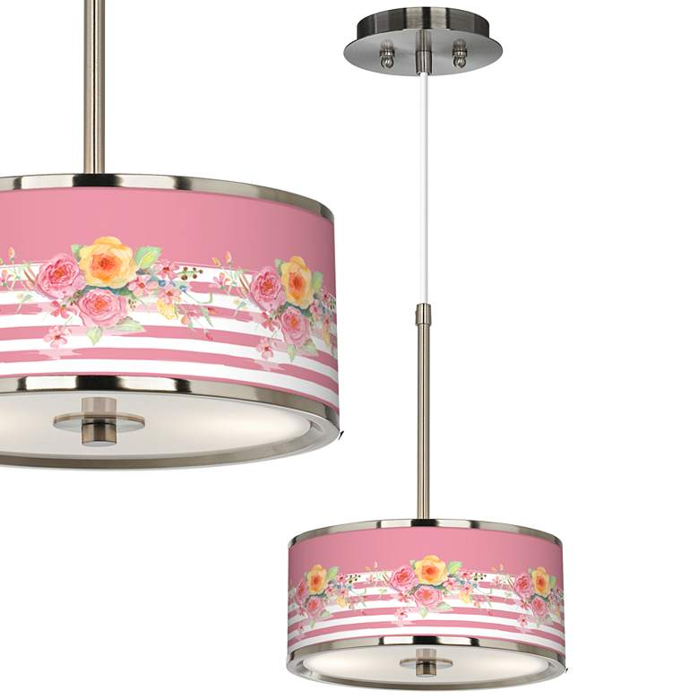 """Country Rose Giclee Glow 10 1/4"""" Wide Pendant Light"""