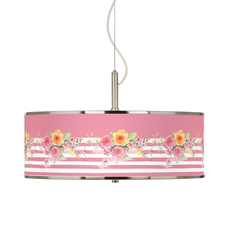 "Country Rose Giclee Glow 20"" Wide Pendant Light"