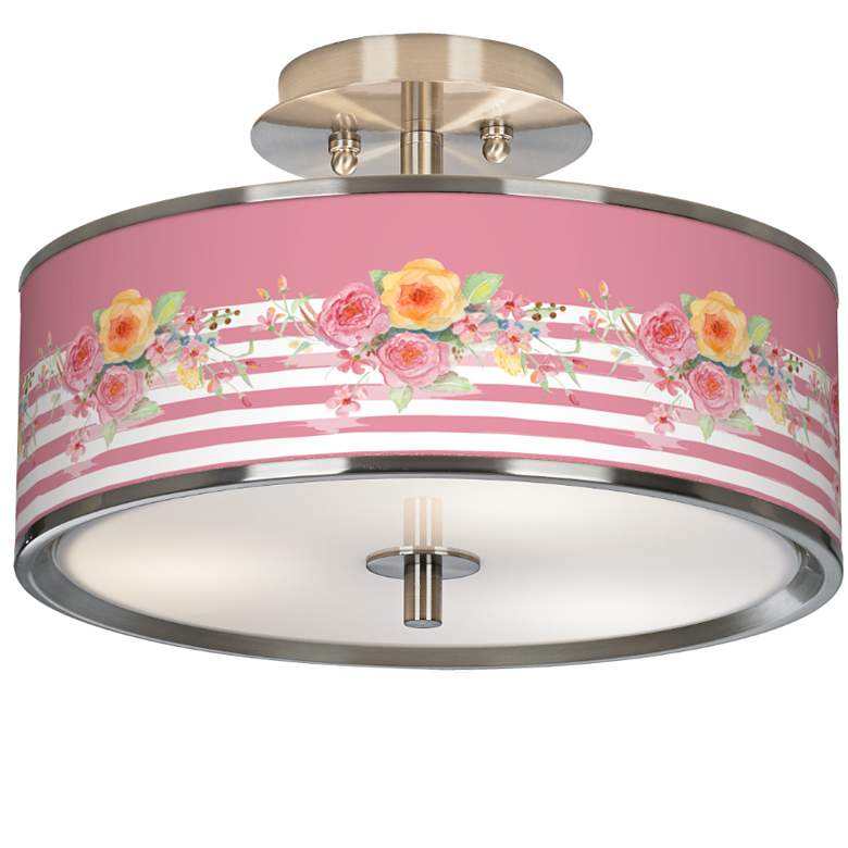 """Country Rose Giclee Glow 14"""" Wide Ceiling Light"""