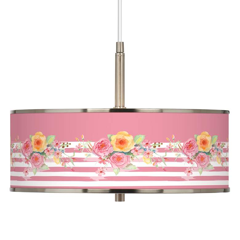 "Country Rose Giclee Glow 16"" Wide Pendant Light"