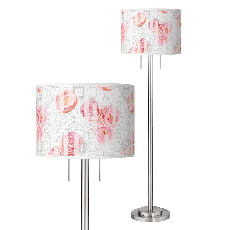 Rose Blush Giclee Brushed Nickel Garth Floor Lamp