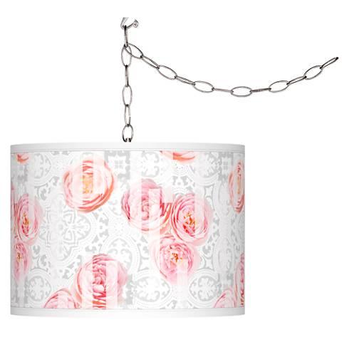 Rose Blush Giclee Glow Plug-In Swag Pendant