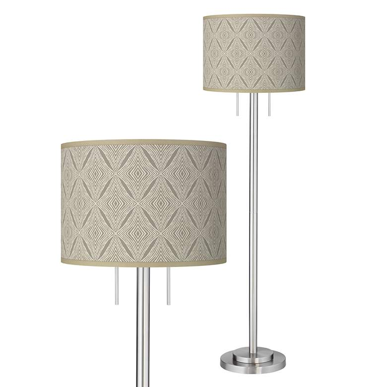 Moroccan Diamonds Giclee Brushed Nickel Garth Floor Lamp