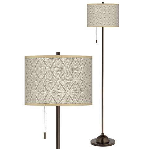 Moroccan Diamonds Giclee Glow Bronze Club Floor Lamp