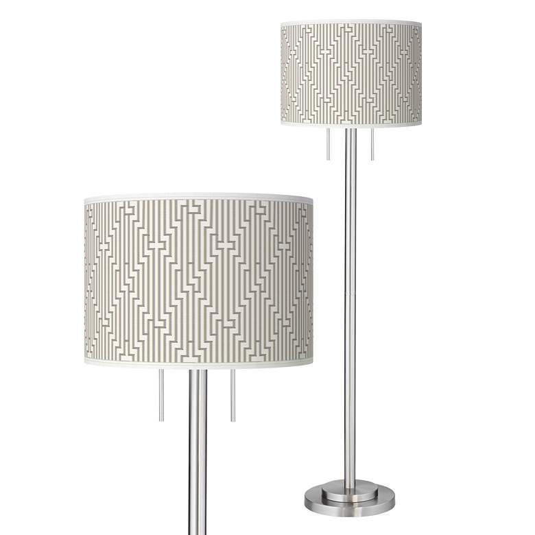 Diamond Maze Giclee Brushed Nickel Garth Floor Lamp