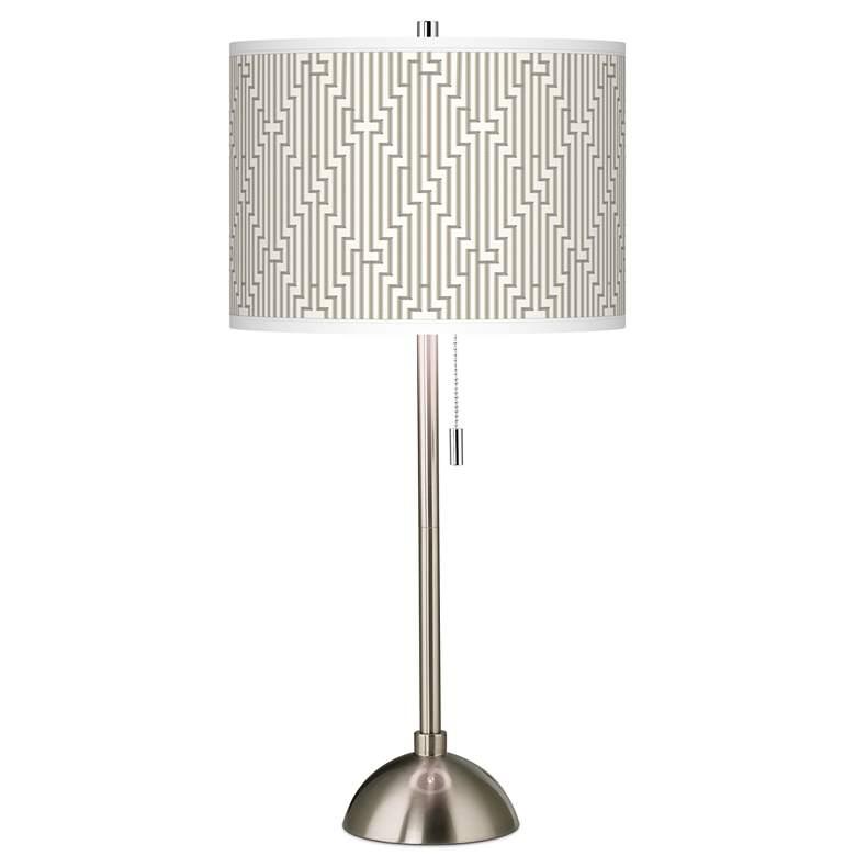 Diamond Maze Giclee Brushed Nickel Table Lamp