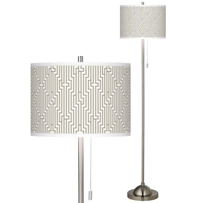 Diamond Maze Brushed Nickel Pull Chain Floor Lamp