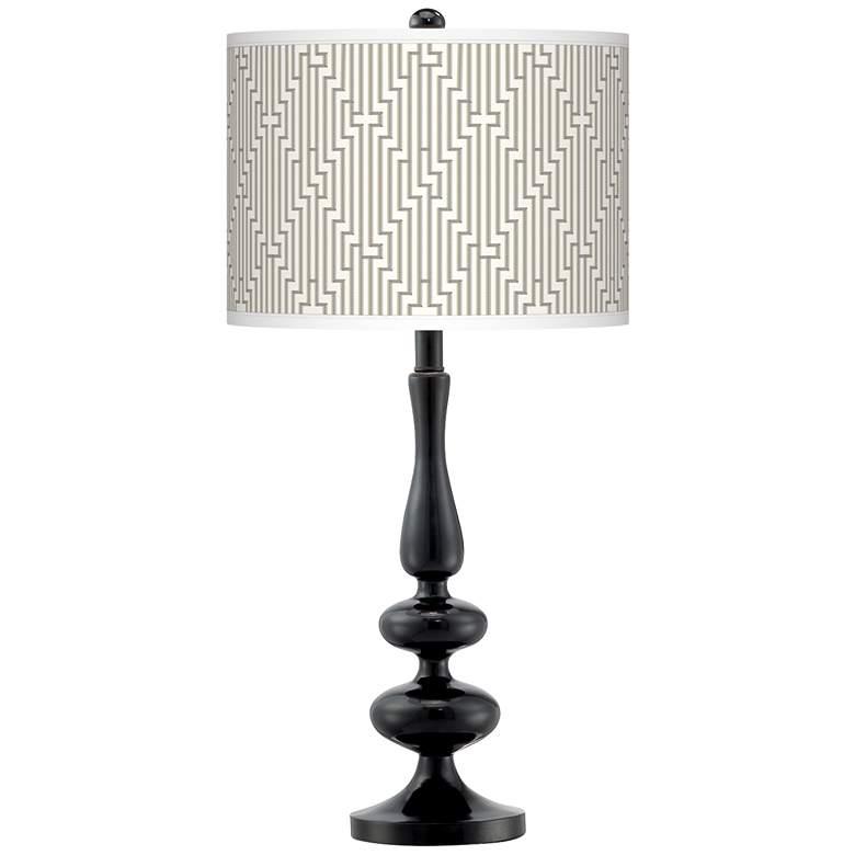 Diamond Maze Giclee Paley Black Table Lamp