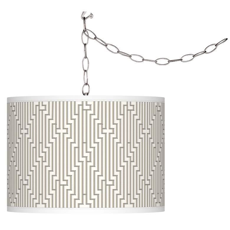 Diamond Maze Giclee Glow Plug-In Swag Pendant