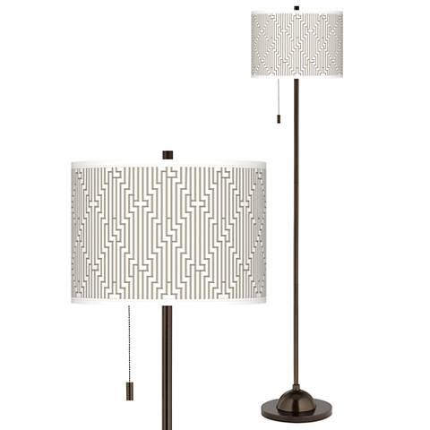 Diamond Maze Giclee Glow Bronze Club Floor Lamp