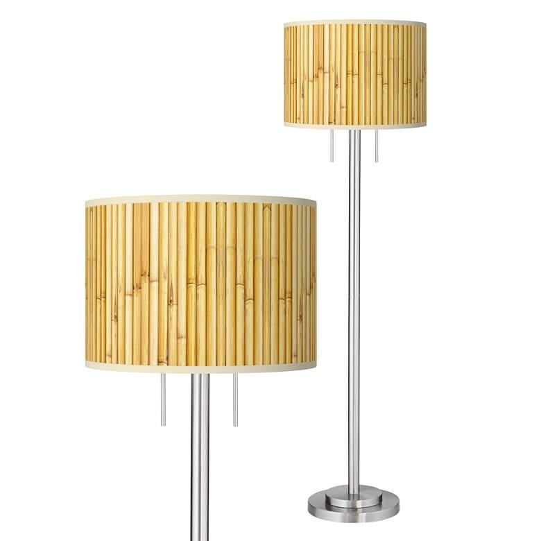 Bamboo Mat Giclee Brushed Nickel Garth Floor Lamp