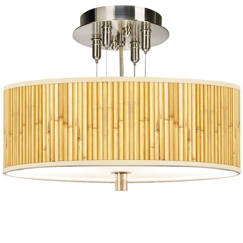 """Bamboo Mat Giclee 14"""" Wide Ceiling Light"""