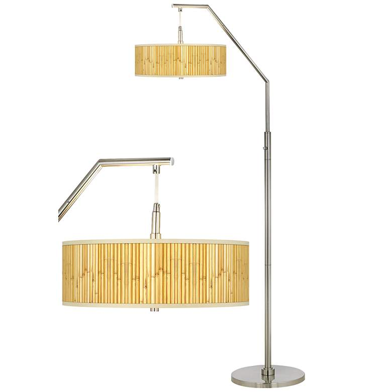 Bamboo Mat Giclee Shade Arc Floor Lamp