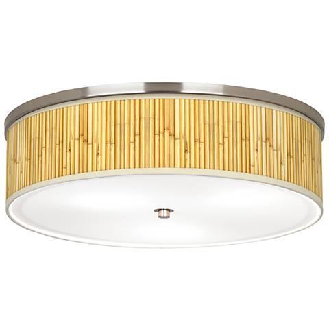 "Bamboo Mat Giclee Nickel 20 1/4"" Wide Ceiling Light"