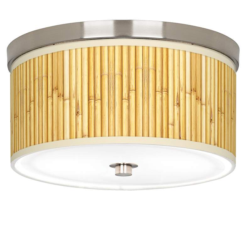 "Bamboo Mat Giclee Nickel 10 1/4"" Wide Ceiling Light"