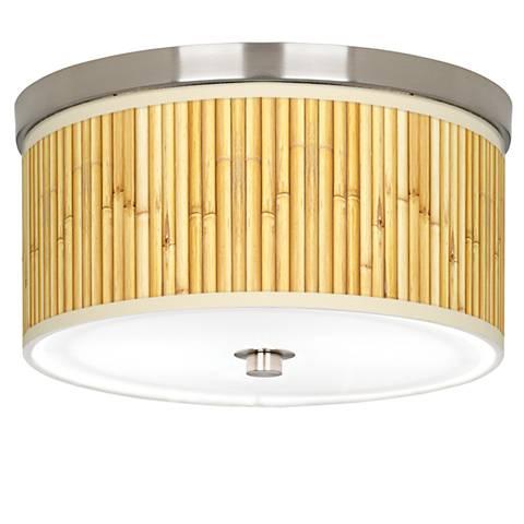 "Bamboo Mat Giclee Nickel 10 1/4"" Wide Ceiling Light"