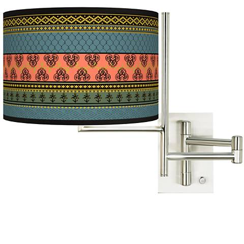 Tempo Royal Tapestry Plug-in Swing Arm Wall Lamp