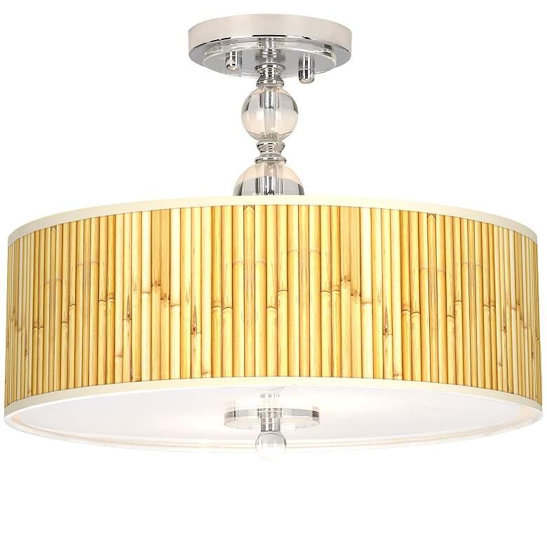 "Bamboo Mat Giclee 16"" Wide Semi-Flush Ceiling Light"