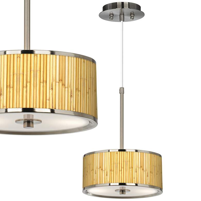 "Bamboo Mat Giclee Glow 10 1/4"" Wide Pendant Light"