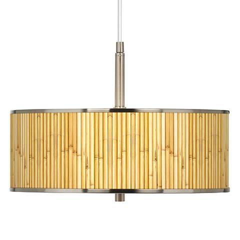 "Bamboo Mat Giclee Glow 16"" Wide Pendant Light"