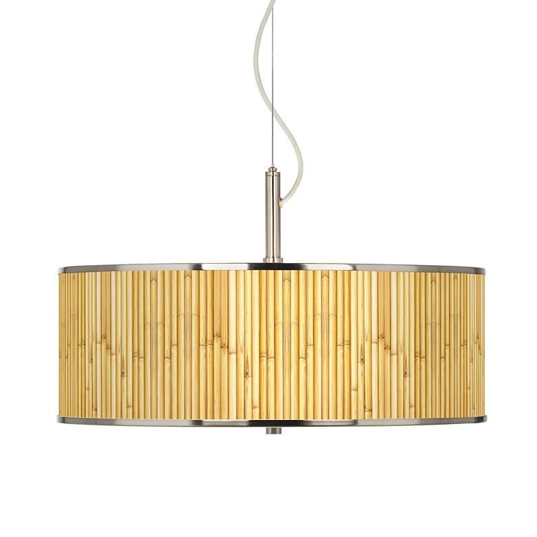 "Bamboo Mat Giclee Glow 20"" Wide Pendant Light"