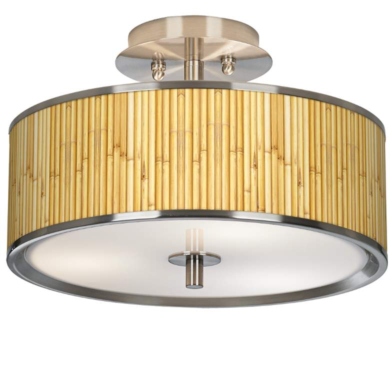 "Bamboo Mat Giclee Glow 14"" Wide Ceiling Light"