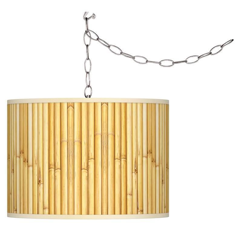 Bamboo Mat Giclee Glow Plug-In Swag Pendant