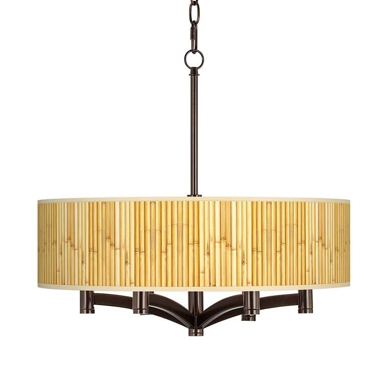 Bamboo Mat Ava 6-Light Bronze Pendant Chandelier