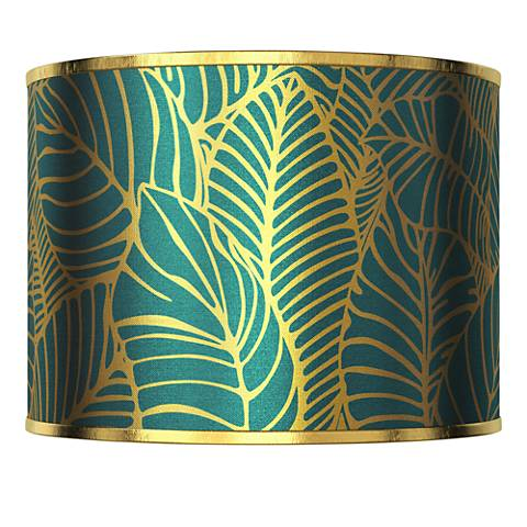 Tropical Leaves Gold Metallic Lamp Shade 13.5x13.5x10 (Spider)