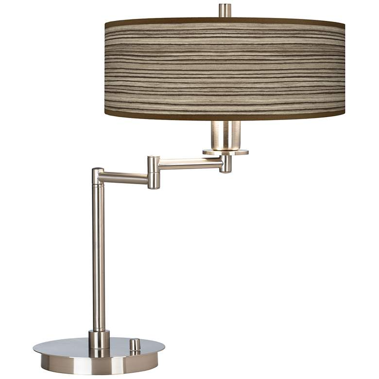Cedar Zebrawood Giclee CFL Swing Arm Desk Lamp