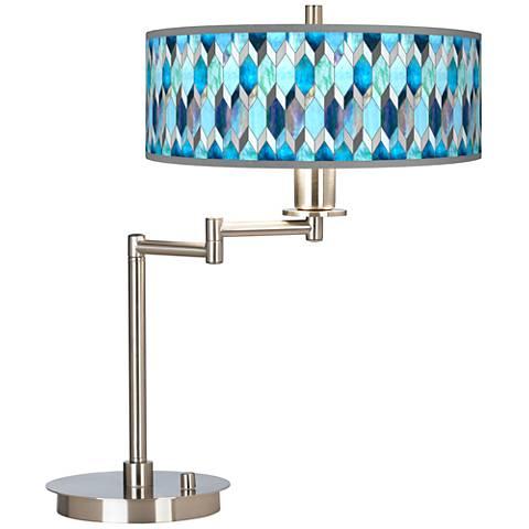 Blue Tiffany-Style Giclee CFL Swing Arm Desk Lamp