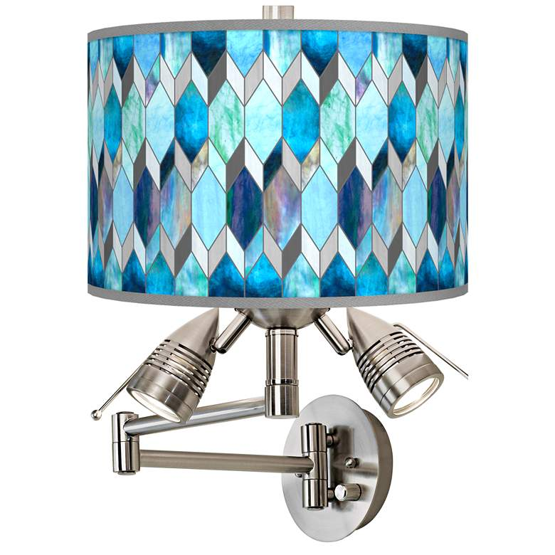 Blue Tiffany-Style Giclee Plug-In Swing Arm Wall Lamp