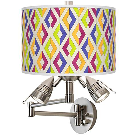 Chromatic Diamonds Giclee Swing Arm Wall Lamp