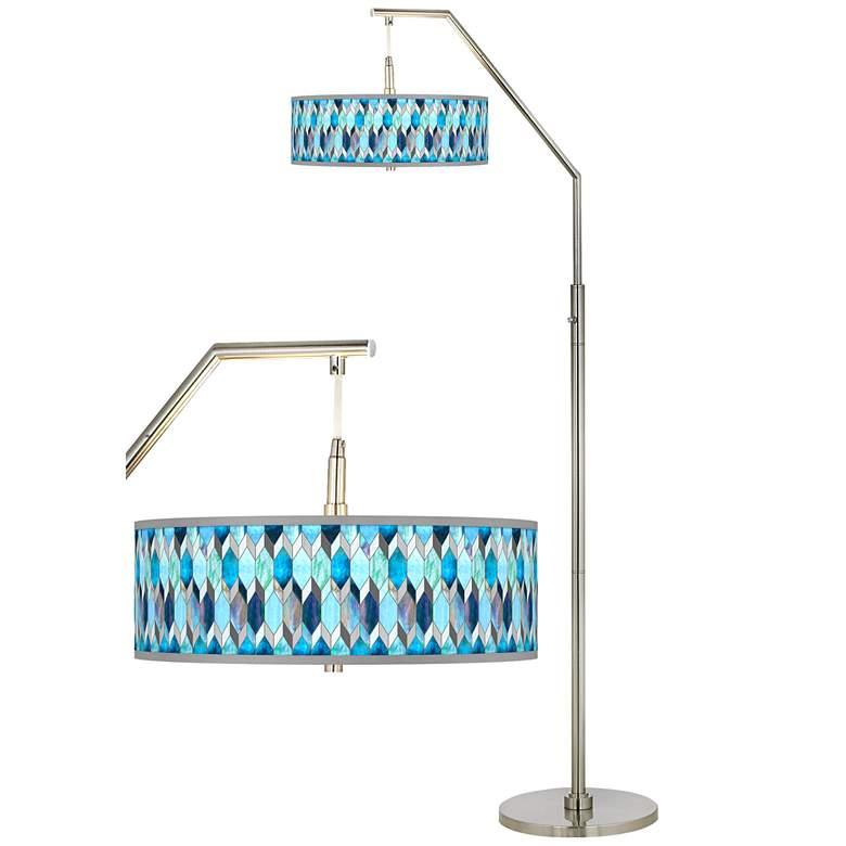 Blue Tiffany-Style Giclee Shade Arc Floor Lamp