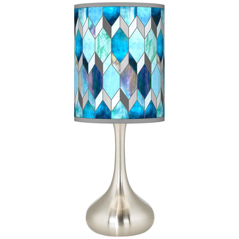 Blue Tiffany-Style Giclee Droplet Table Lamp