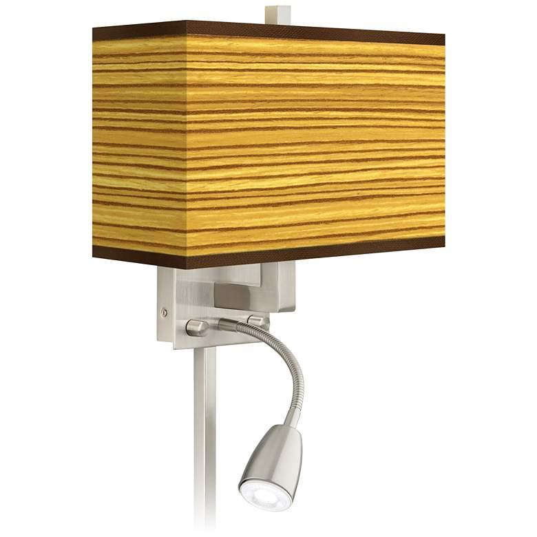 Tawny Zebrawood Giclee Glow LED Reading Light Plug-In Sconce