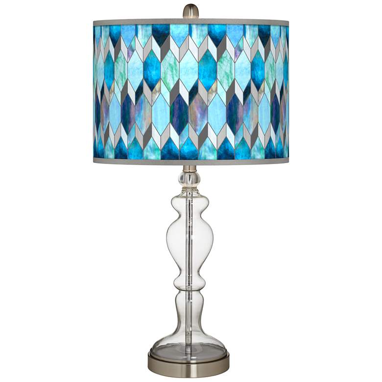 Blue Tiffany-Style Giclee Apothecary Clear Glass Table Lamp