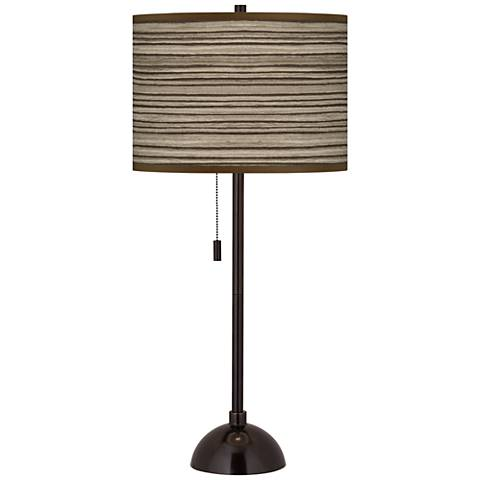 Cedar Zebrawood Giclee Glow Tiger Bronze Club Table Lamp